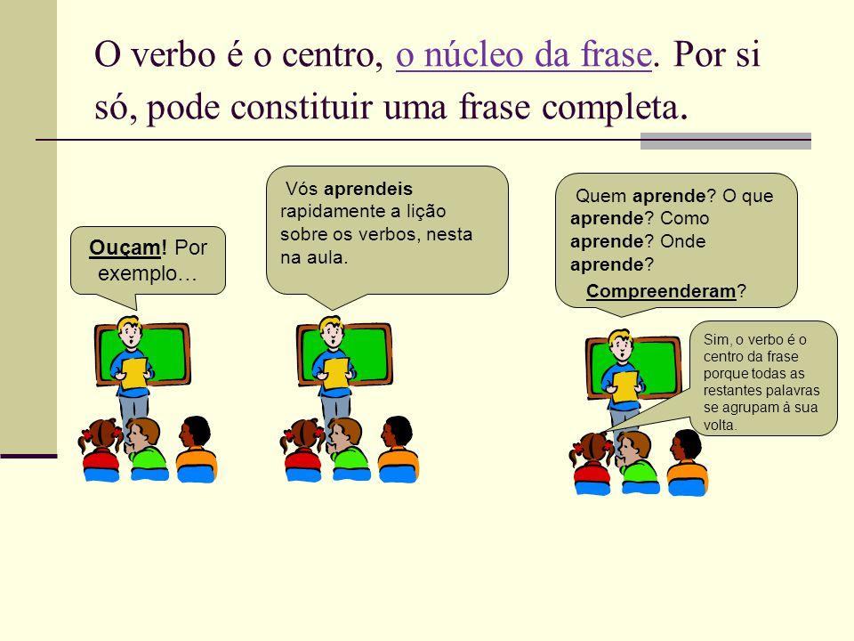 O verbo é o centro, o núcleo da frase. Por si só, pode constituir uma frase completa. Ouçam! Por exemplo… Vós aprendeis rapidamente a lição sobre os v