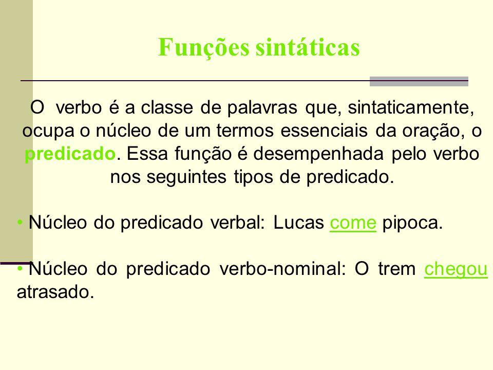 Funções sintáticas O verbo é a classe de palavras que, sintaticamente, ocupa o núcleo de um termos essenciais da oração, o predicado. Essa função é de