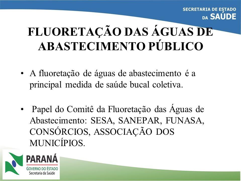 PROGRAMA ESTADUAL DE BOCHECHO COM FLÚOR Implantado em 1980, através do Decreto Estadual nº 3046 de 10 de outubro de 1980; Atinge atualmente 800 mil escolares que realizam semanalmente um bochecho com uma solução de fluoreto de sódio a 0,2%; SESA fornece sachês de fluoreto de sódio;