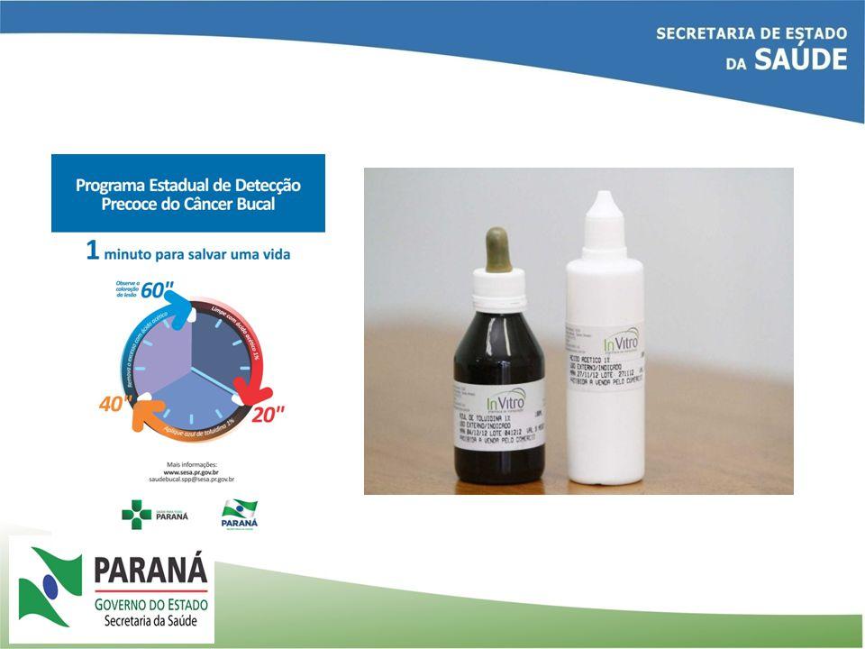 REDE DE CÂNCER BUCAL DO PARANÁ 2.505 Unidades de Saúde- Básicas e da ESF 50 CEOS 68 Laboratórios 01 ( atualmente) 5 Cacons 16 Unacons