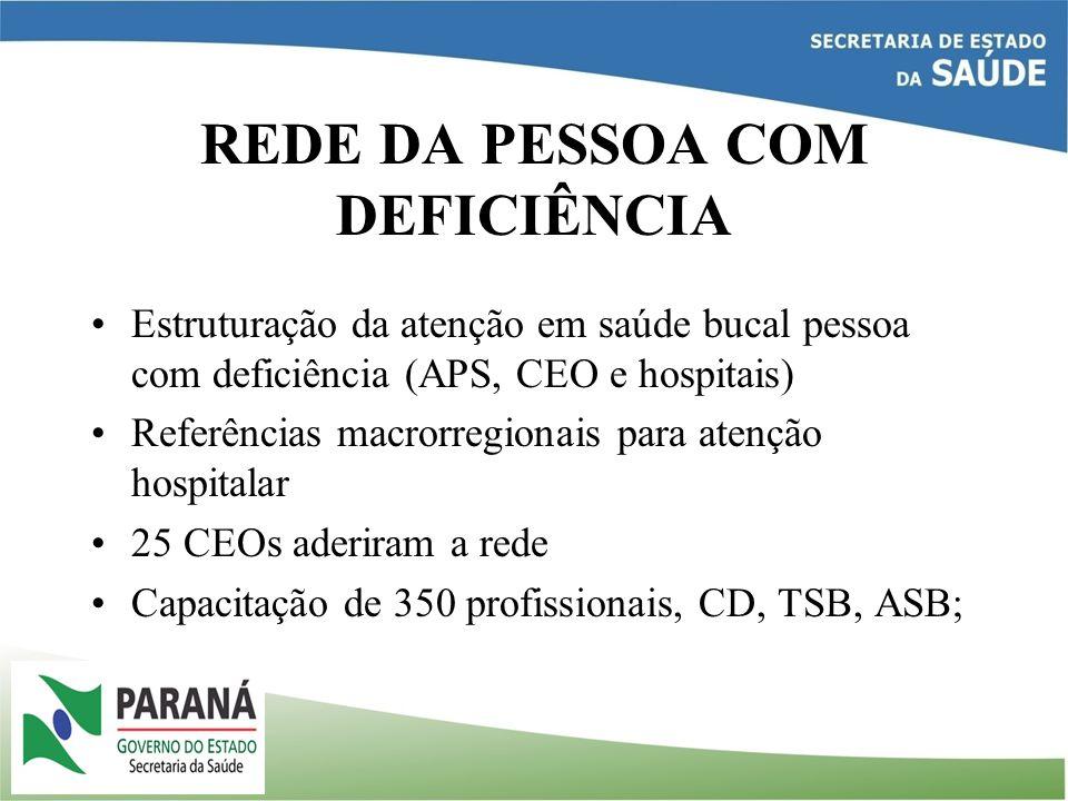 REDE DA PESSOA COM DEFICIÊNCIA Estruturação da atenção em saúde bucal pessoa com deficiência (APS, CEO e hospitais) Referências macrorregionais para a