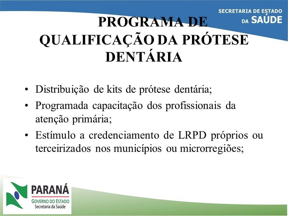 PROGRAMA DE QUALIFICAÇÃO DA PRÓTESE DENTÁRIA Distribuição de kits de prótese dentária; Programada capacitação dos profissionais da atenção primária; E