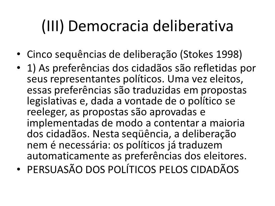 (III) Democracia deliberativa Cinco sequências de deliberação (Stokes 1998) 1) As preferências dos cidadãos são refletidas por seus representantes políticos.