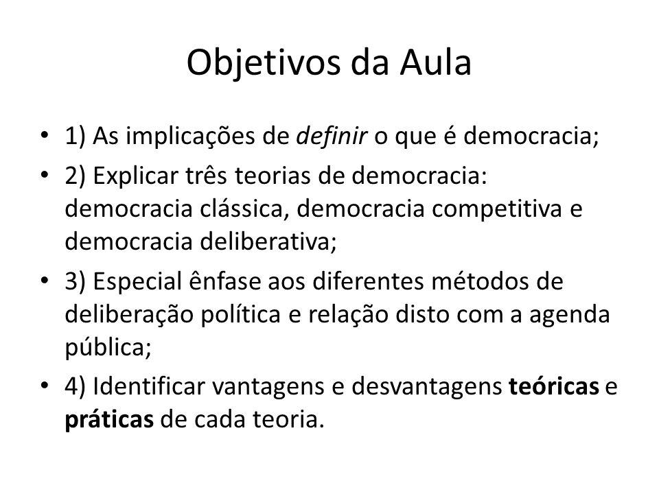 Objetivos da Aula 1) As implicações de definir o que é democracia; 2) Explicar três teorias de democracia: democracia clássica, democracia competitiva