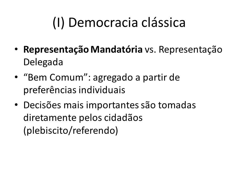 (I) Democracia clássica Representação Mandatória vs. Representação Delegada Bem Comum: agregado a partir de preferências individuais Decisões mais imp
