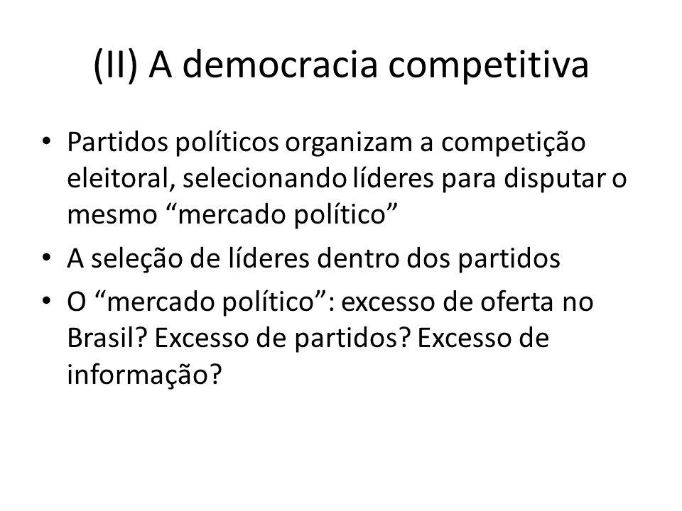 (II) A democracia competitiva Partidos políticos organizam a competição eleitoral, selecionando líderes para disputar o mesmo mercado político A seleção de líderes dentro dos partidos O mercado político: excesso de oferta no Brasil.