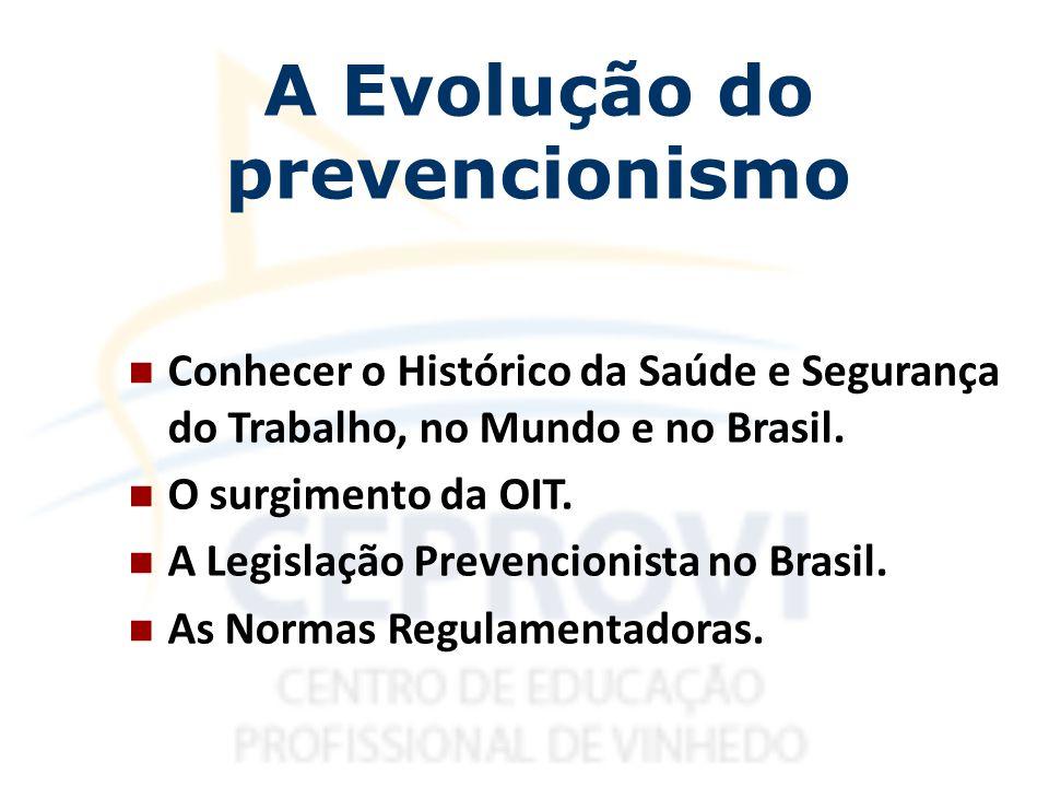 Conhecer o Histórico da Saúde e Segurança do Trabalho, no Mundo e no Brasil. O surgimento da OIT. A Legislação Prevencionista no Brasil. As Normas Reg