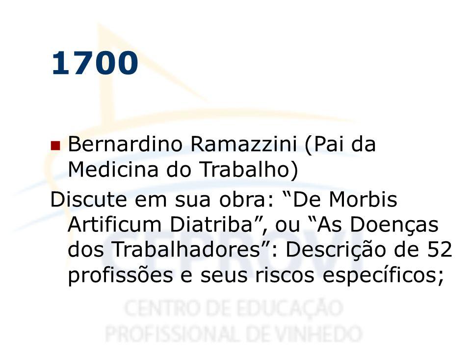 1700 Bernardino Ramazzini (Pai da Medicina do Trabalho) Discute em sua obra: De Morbis Artificum Diatriba, ou As Doenças dos Trabalhadores: Descrição