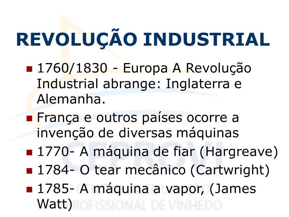 REVOLUÇÃO INDUSTRIAL 1760/1830 - Europa A Revolução Industrial abrange: Inglaterra e Alemanha. França e outros países ocorre a invenção de diversas má