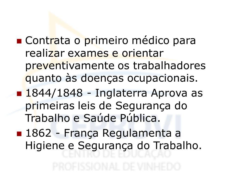 Contrata o primeiro médico para realizar exames e orientar preventivamente os trabalhadores quanto às doenças ocupacionais. 1844/1848 - Inglaterra Apr
