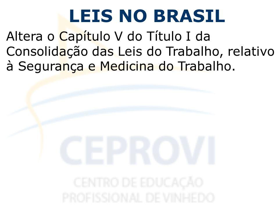 LEIS NO BRASIL Altera o Capítulo V do Título I da Consolidação das Leis do Trabalho, relativo à Segurança e Medicina do Trabalho.