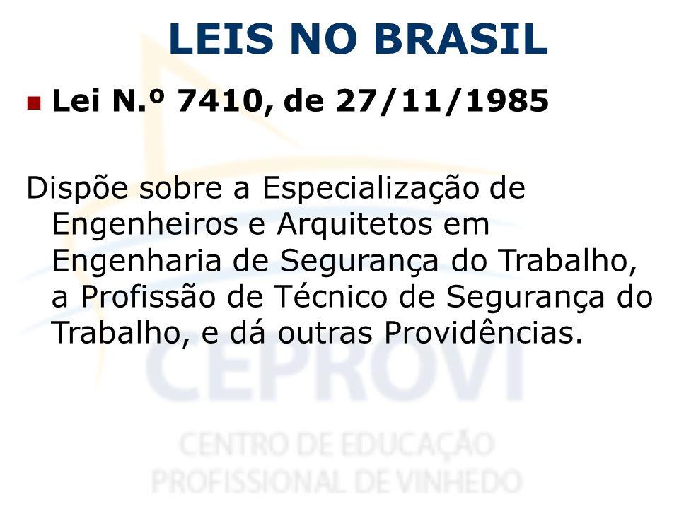 LEIS NO BRASIL Lei N.º 7410, de 27/11/1985 Dispõe sobre a Especialização de Engenheiros e Arquitetos em Engenharia de Segurança do Trabalho, a Profiss