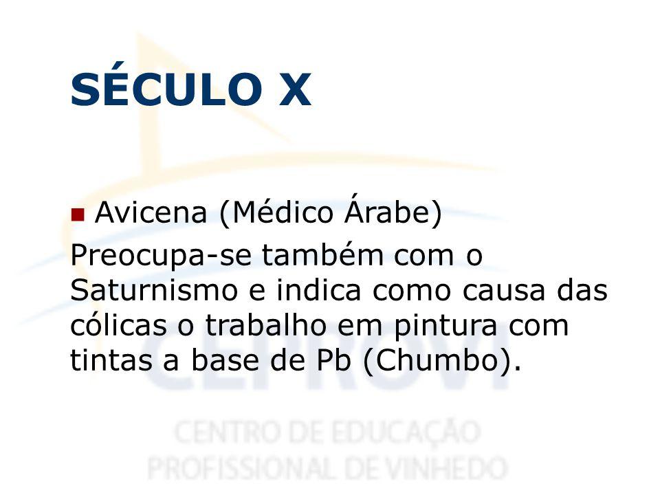 SÉCULO X Avicena (Médico Árabe) Preocupa-se também com o Saturnismo e indica como causa das cólicas o trabalho em pintura com tintas a base de Pb (Chu