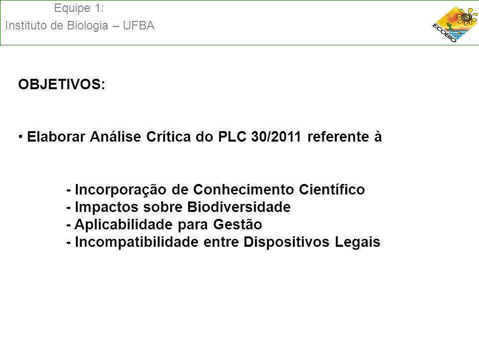 Equipe 1: Instituto de Biologia – UFBA OBJETIVOS: Elaborar Análise Crítica do PLC 30/2011 referente à - Incorporação de Conhecimento Científico - Impa