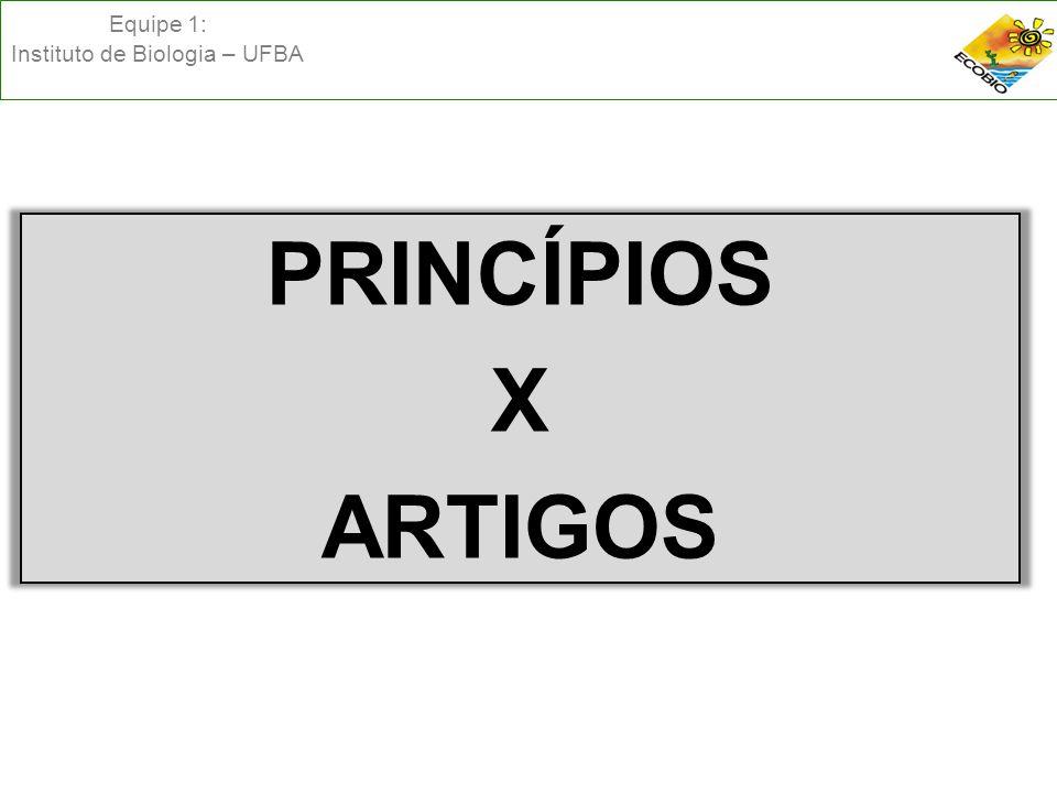 Equipe 1: Instituto de Biologia – UFBA PRINCÍPIOS X ARTIGOS