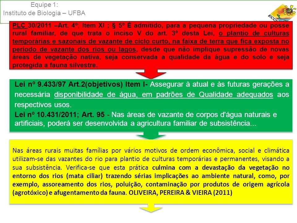 Equipe 1: Instituto de Biologia – UFBA PLC 30/2011 –Art. 4º; Item XI ; § 5º É admitido, para a pequena propriedade ou posse rural familiar, de que tra