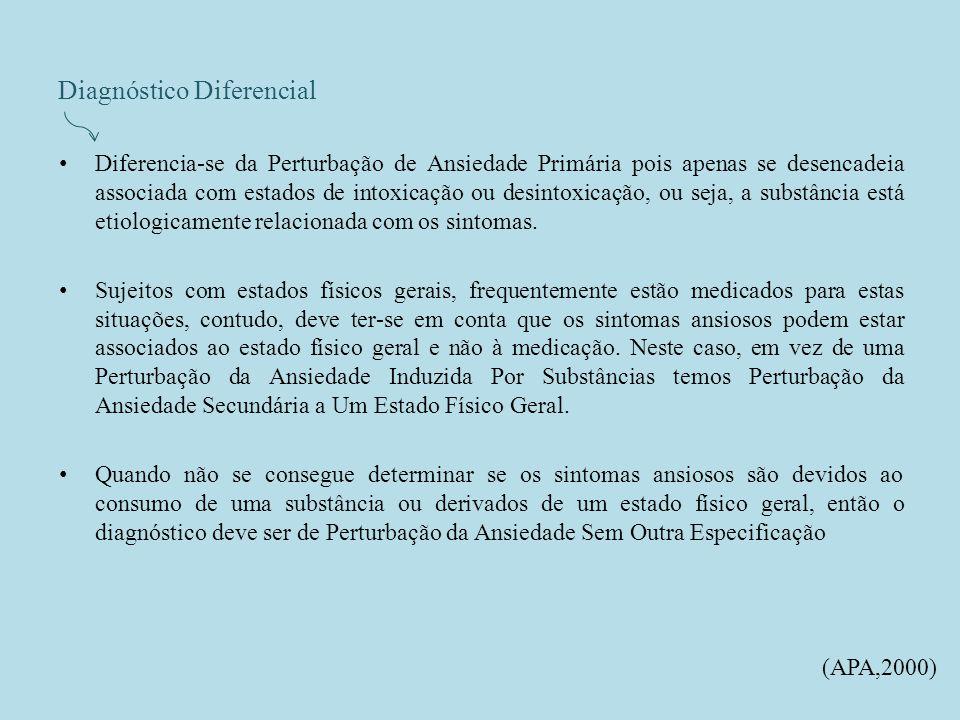 Diagnóstico Diferencial Diferencia-se da Perturbação de Ansiedade Primária pois apenas se desencadeia associada com estados de intoxicação ou desintoxicação, ou seja, a substância está etiologicamente relacionada com os sintomas.