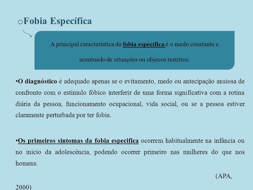 o Fobia Específica O diagnóstico é adequado apenas se o evitamento, medo ou antecipação ansiosa de confronto com o estímulo fóbico interferir de uma forma significativa com a rotina diária da pessoa, funcionamento ocupacional, vida social, ou se a pessoa estiver claramente perturbada por ter fobia.