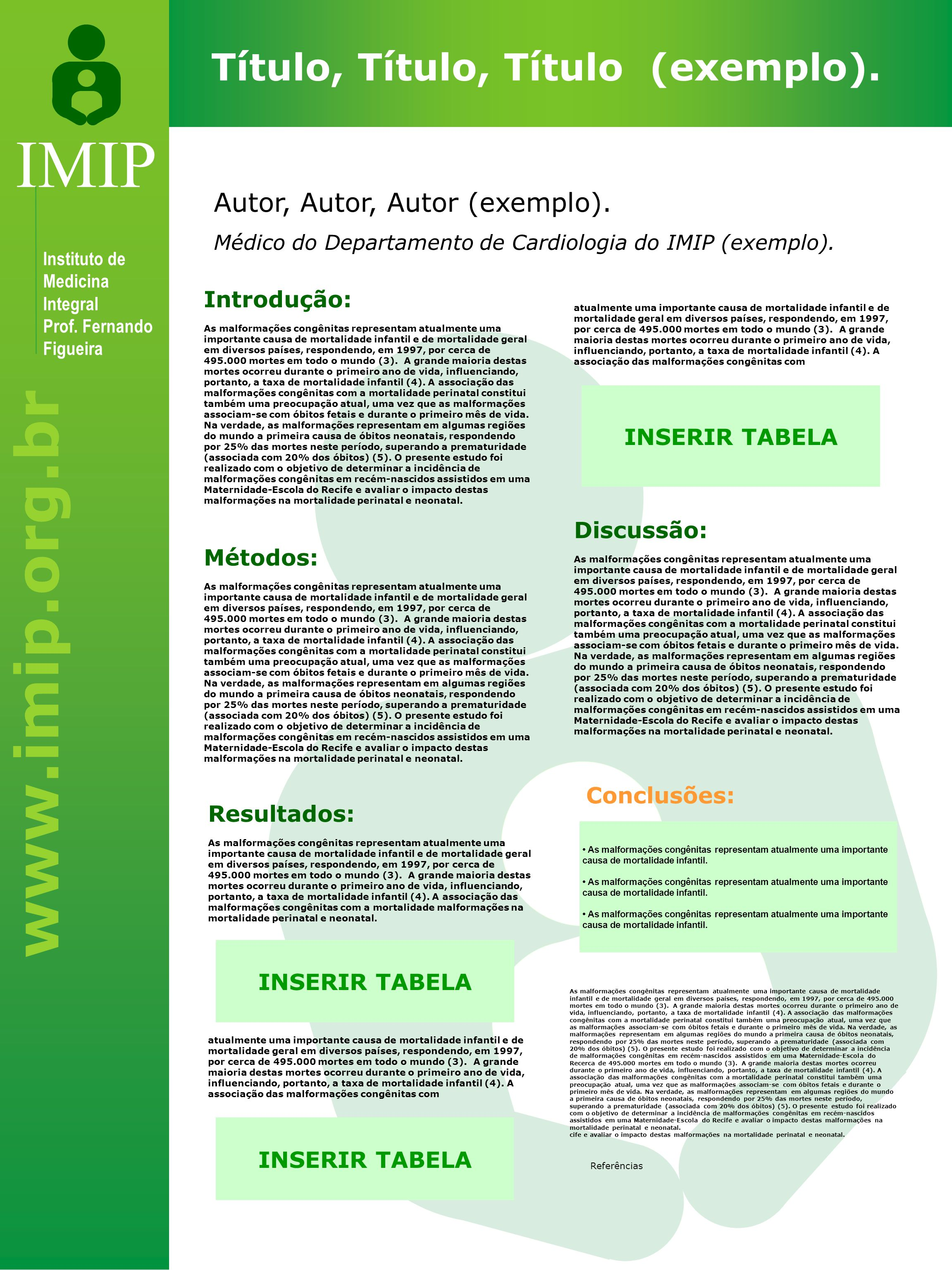 www.imip.org.br IMIP Instituto de Medicina Integral Prof. Fernando Figueira Título, Título, Título (exemplo). Introdução: As malformações congênitas r