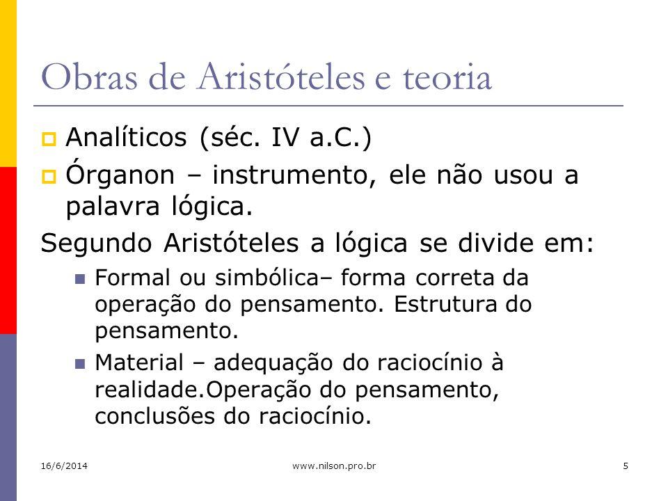 Obras de Aristóteles e teoria Analíticos (séc. IV a.C.) Órganon – instrumento, ele não usou a palavra lógica. Segundo Aristóteles a lógica se divide e