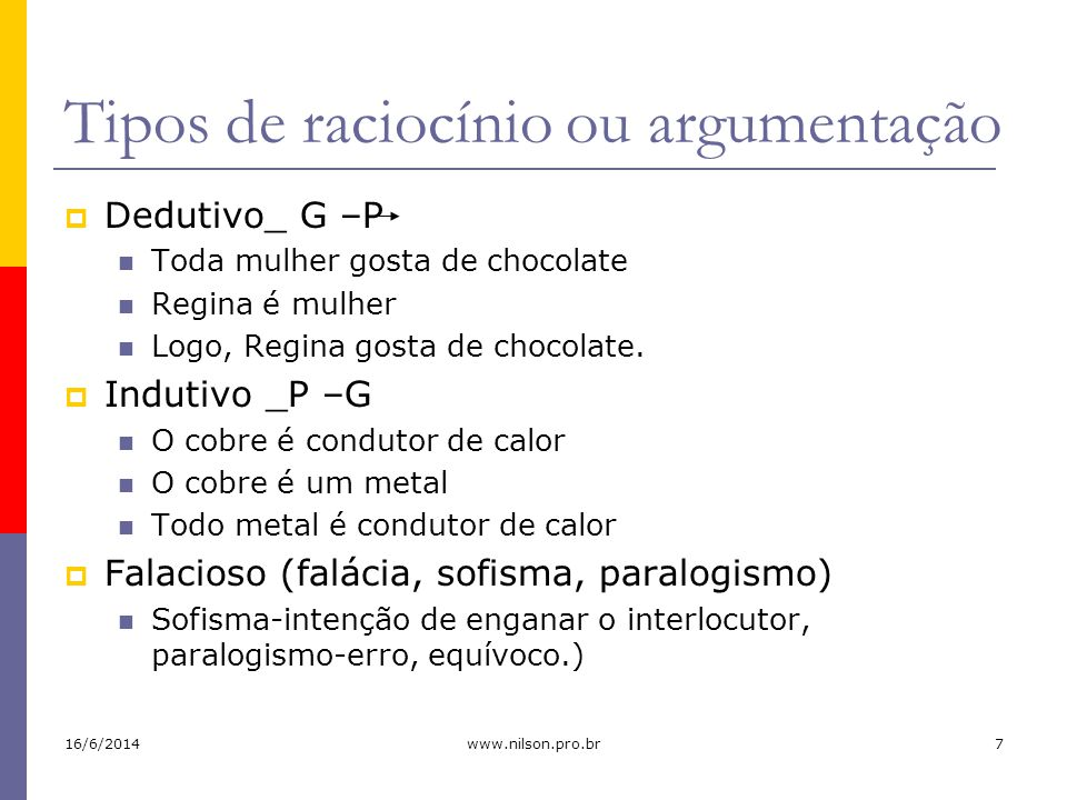 Tipos de argumentação Analógico Comparação Vagner é aluno do CMF e é inteligente.