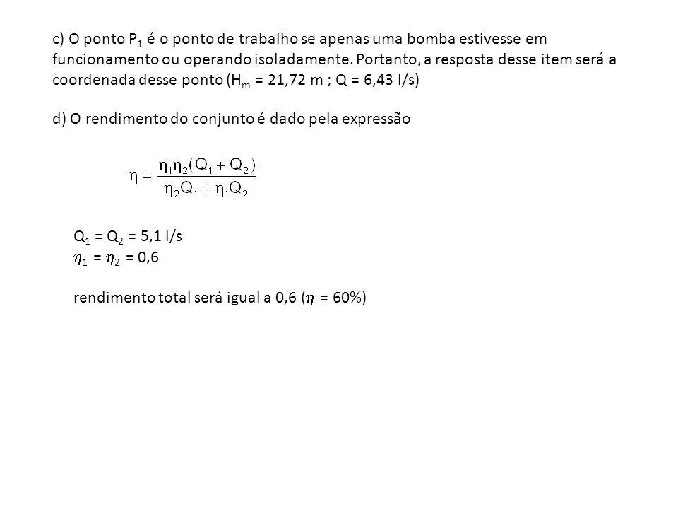 c) O ponto P 1 é o ponto de trabalho se apenas uma bomba estivesse em funcionamento ou operando isoladamente. Portanto, a resposta desse item será a c