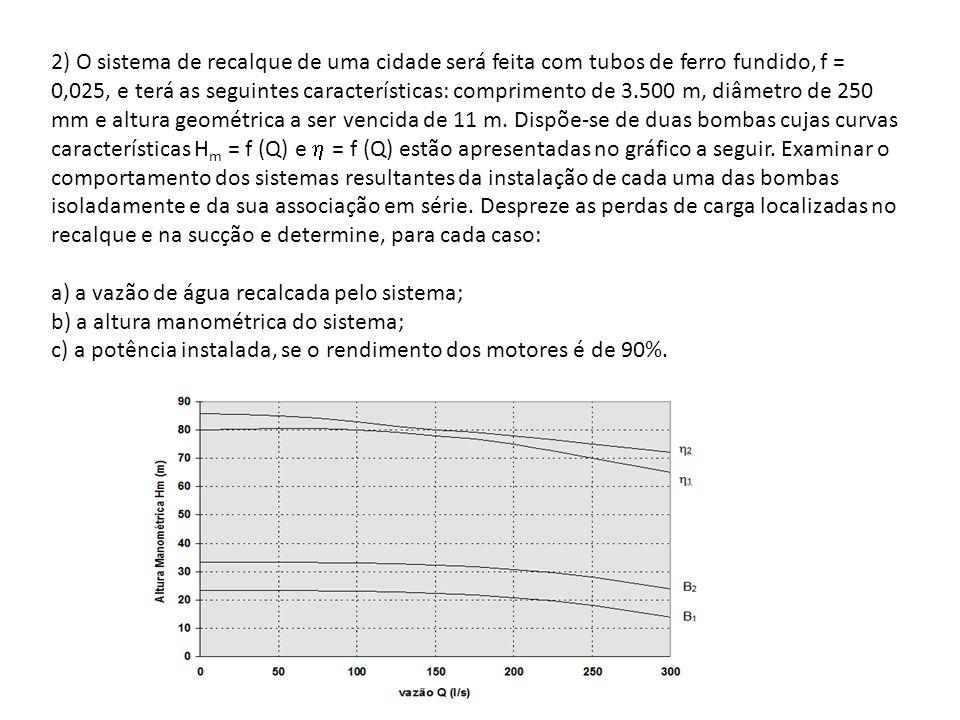 2) O sistema de recalque de uma cidade será feita com tubos de ferro fundido, f = 0,025, e terá as seguintes características: comprimento de 3.500 m,
