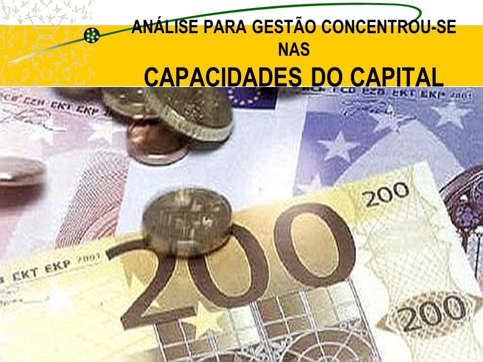 ANÁLISE PARA GESTÃO CONCENTROU-SE NAS CAPACIDADES DO CAPITAL