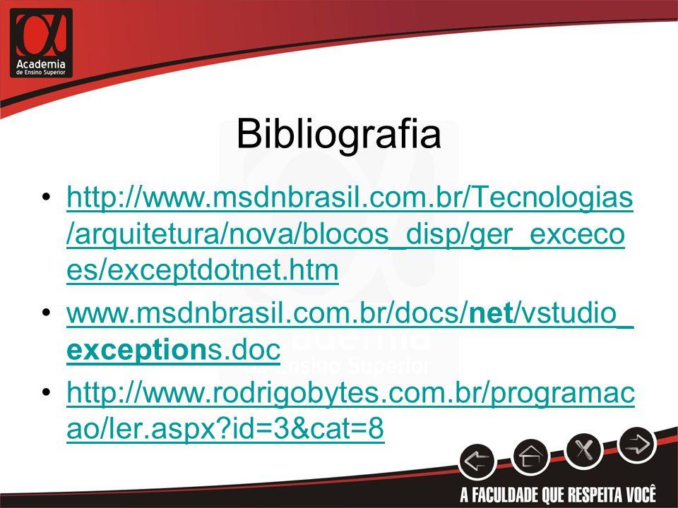 Bibliografia http://www.msdnbrasil.com.br/Tecnologias /arquitetura/nova/blocos_disp/ger_exceco es/exceptdotnet.htmhttp://www.msdnbrasil.com.br/Tecnologias /arquitetura/nova/blocos_disp/ger_exceco es/exceptdotnet.htm www.msdnbrasil.com.br/docs/net/vstudio_ exceptions.docwww.msdnbrasil.com.br/docs/net/vstudio_ exceptions.doc http://www.rodrigobytes.com.br/programac ao/ler.aspx?id=3&cat=8http://www.rodrigobytes.com.br/programac ao/ler.aspx?id=3&cat=8