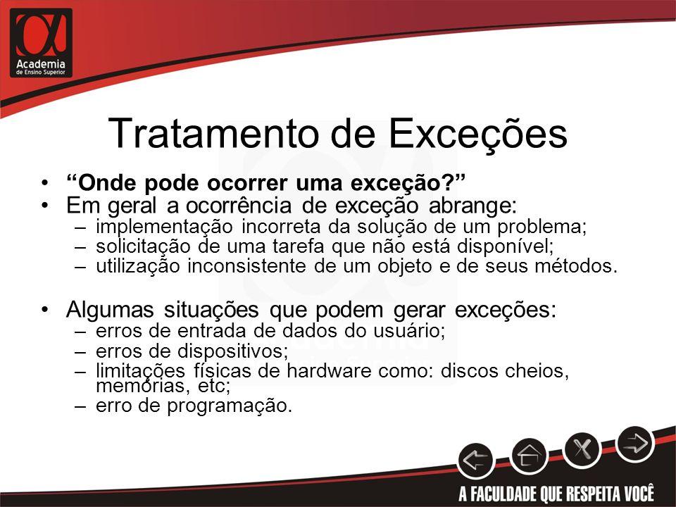 Tratamento de Exceções Onde pode ocorrer uma exceção? Em geral a ocorrência de exceção abrange: –implementação incorreta da solução de um problema; –s