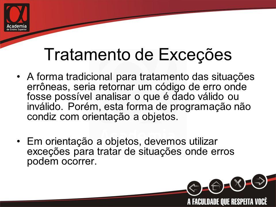 Tratamento de Exceções A forma tradicional para tratamento das situações errôneas, seria retornar um código de erro onde fosse possível analisar o que é dado válido ou inválido.