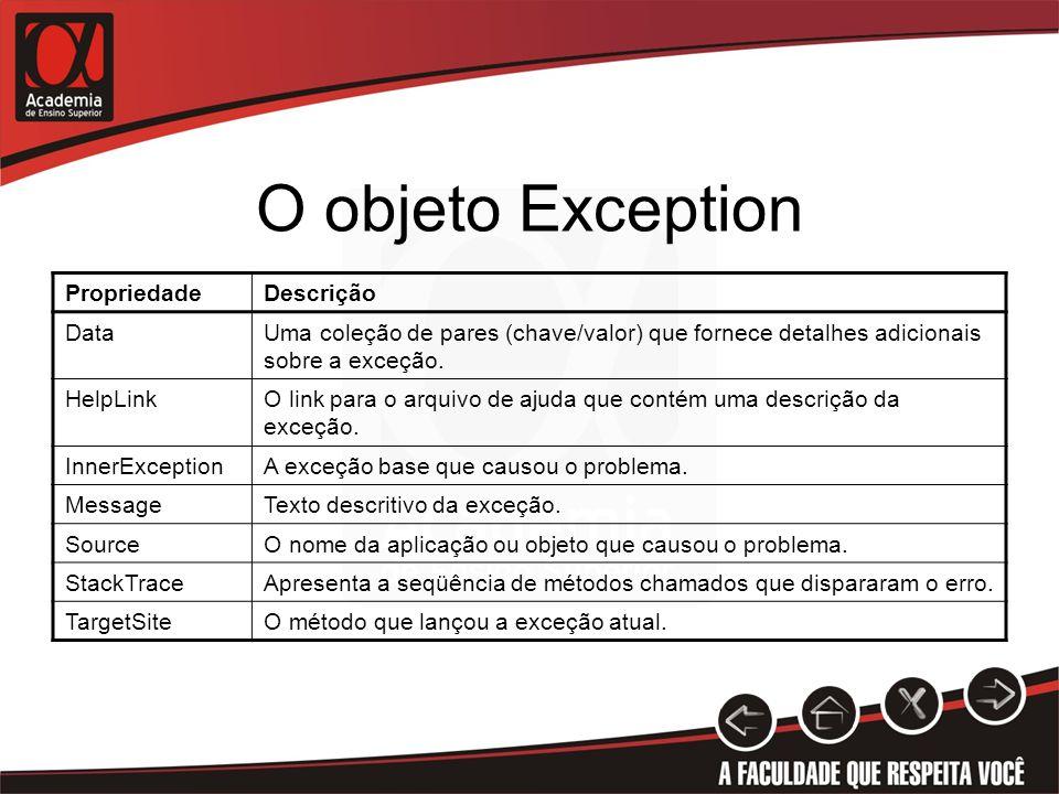 O objeto Exception PropriedadeDescrição DataUma coleção de pares (chave/valor) que fornece detalhes adicionais sobre a exceção. HelpLinkO link para o