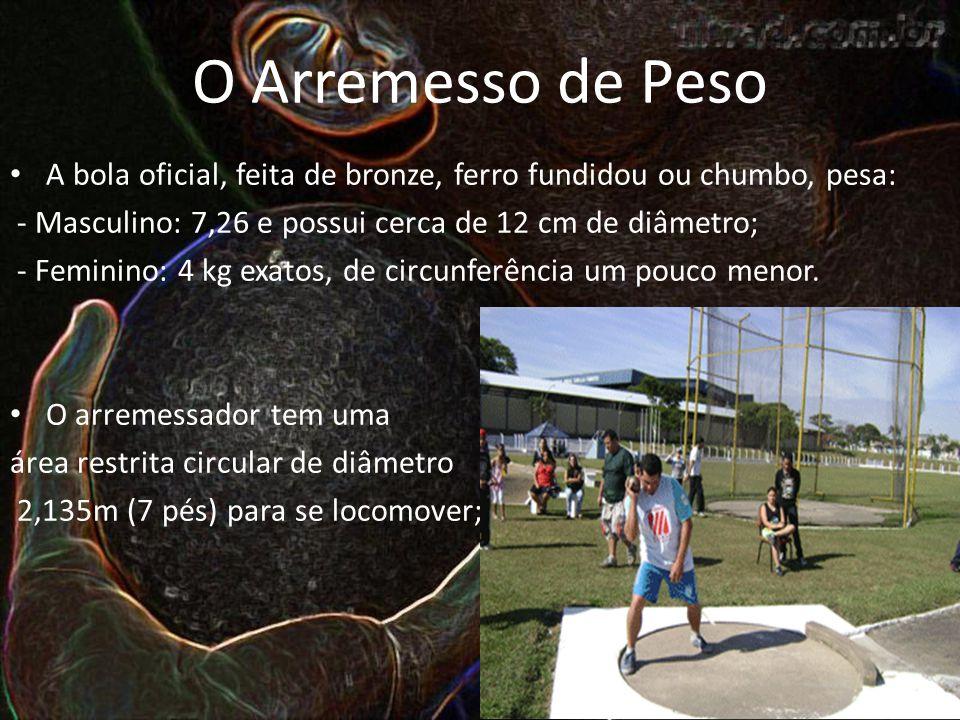 O Arremesso de Peso A bola oficial, feita de bronze, ferro fundidou ou chumbo, pesa: - Masculino: 7,26 e possui cerca de 12 cm de diâmetro; - Feminino