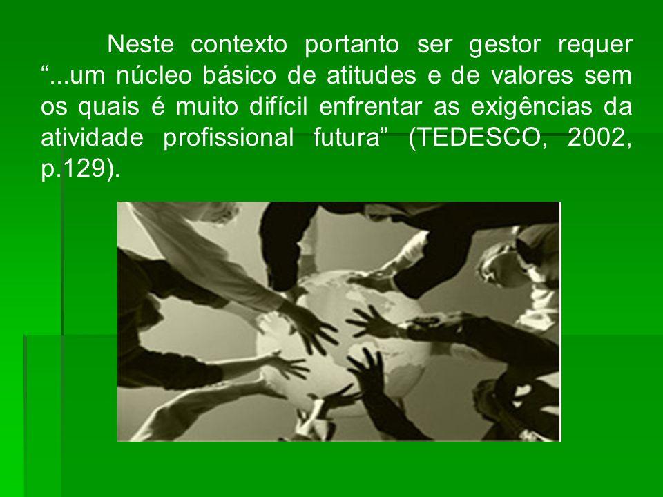 Neste contexto portanto ser gestor requer...um núcleo básico de atitudes e de valores sem os quais é muito difícil enfrentar as exigências da atividade profissional futura (TEDESCO, 2002, p.129).