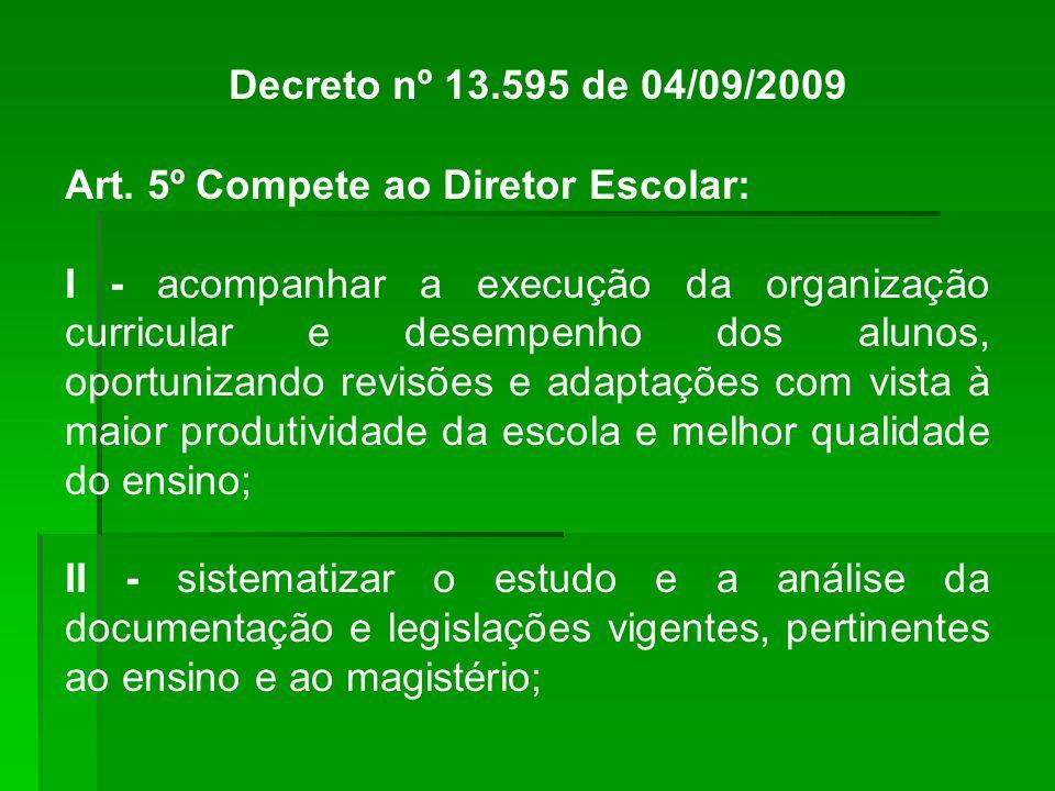 Decreto nº 13.595 de 04/09/2009 Art.