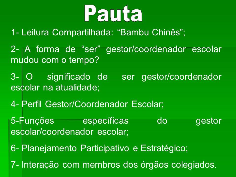 1- Leitura Compartilhada: Bambu Chinês; 2- A forma de ser gestor/coordenador escolar mudou com o tempo.
