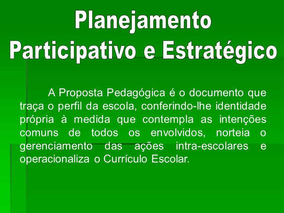 A Proposta Pedagógica é o documento que traça o perfil da escola, conferindo-lhe identidade própria à medida que contempla as intenções comuns de todos os envolvidos, norteia o gerenciamento das ações intra-escolares e operacionaliza o Currículo Escolar.