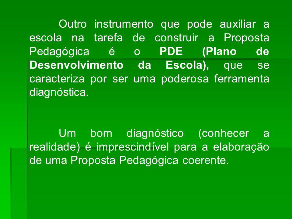 Outro instrumento que pode auxiliar a escola na tarefa de construir a Proposta Pedagógica é o PDE (Plano de Desenvolvimento da Escola), que se caracteriza por ser uma poderosa ferramenta diagnóstica.