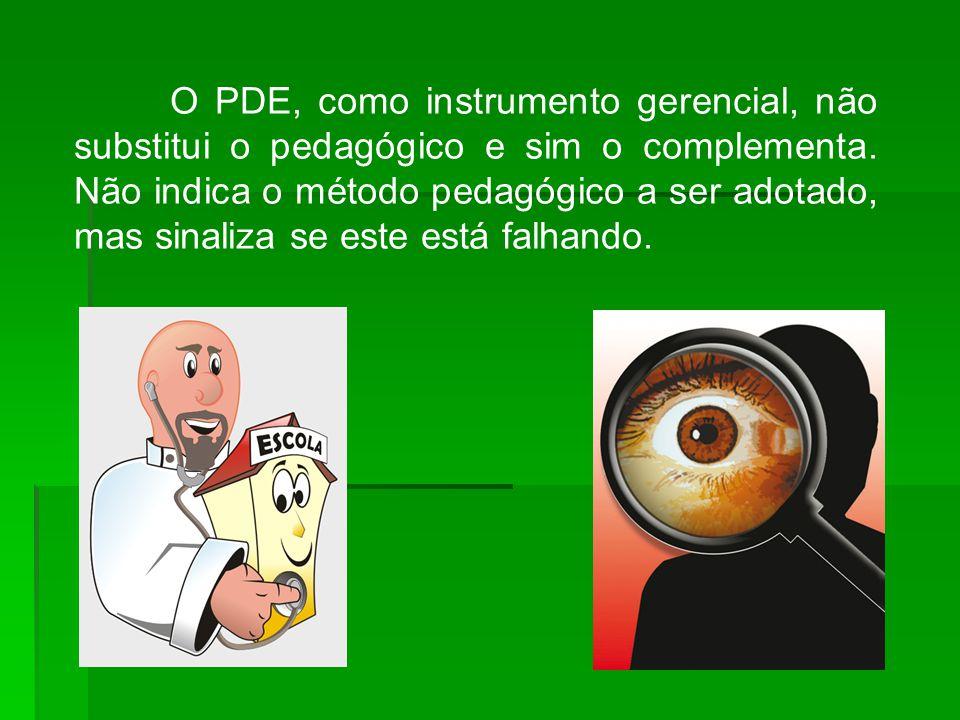 O PDE, como instrumento gerencial, não substitui o pedagógico e sim o complementa.