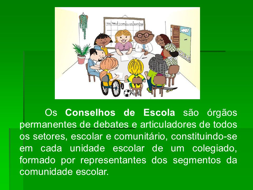 Os Conselhos de Escola são órgãos permanentes de debates e articuladores de todos os setores, escolar e comunitário, constituindo-se em cada unidade escolar de um colegiado, formado por representantes dos segmentos da comunidade escolar.