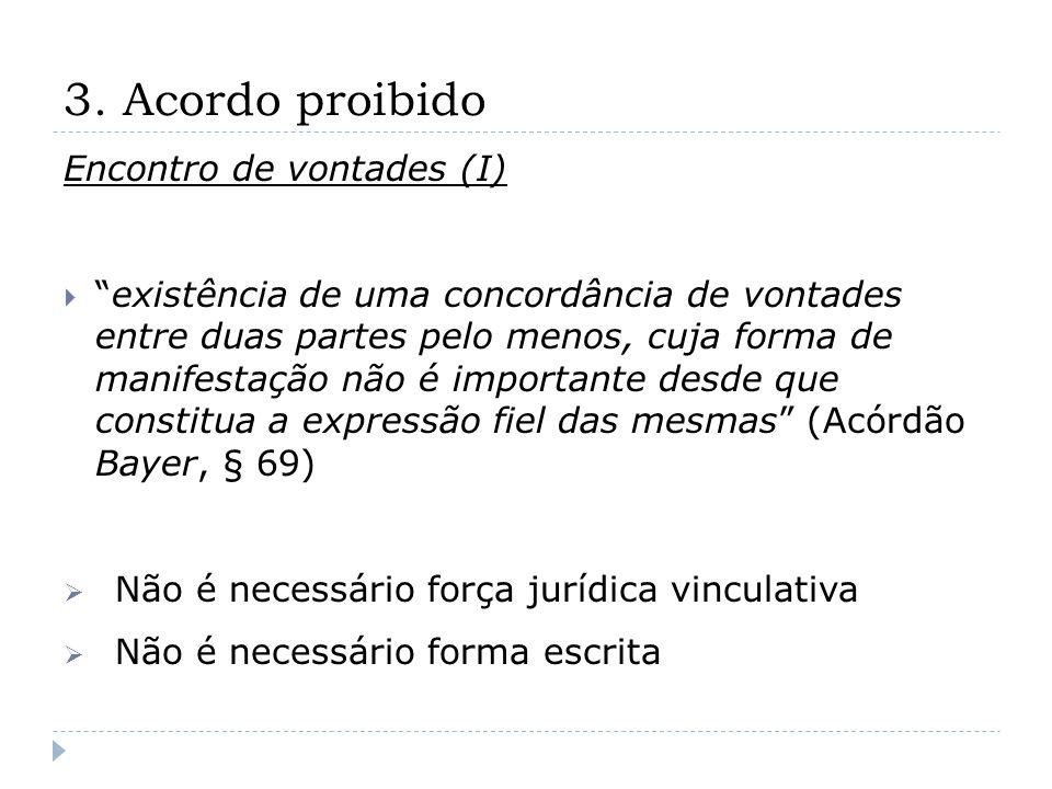 3. Acordo proibido Encontro de vontades (I) existência de uma concordância de vontades entre duas partes pelo menos, cuja forma de manifestação não é