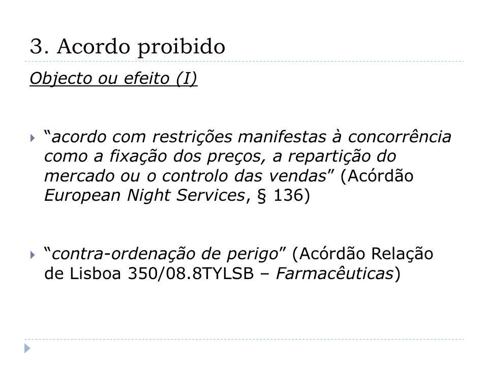 3. Acordo proibido Objecto ou efeito (I) acordo com restrições manifestas à concorrência como a fixação dos preços, a repartição do mercado ou o contr
