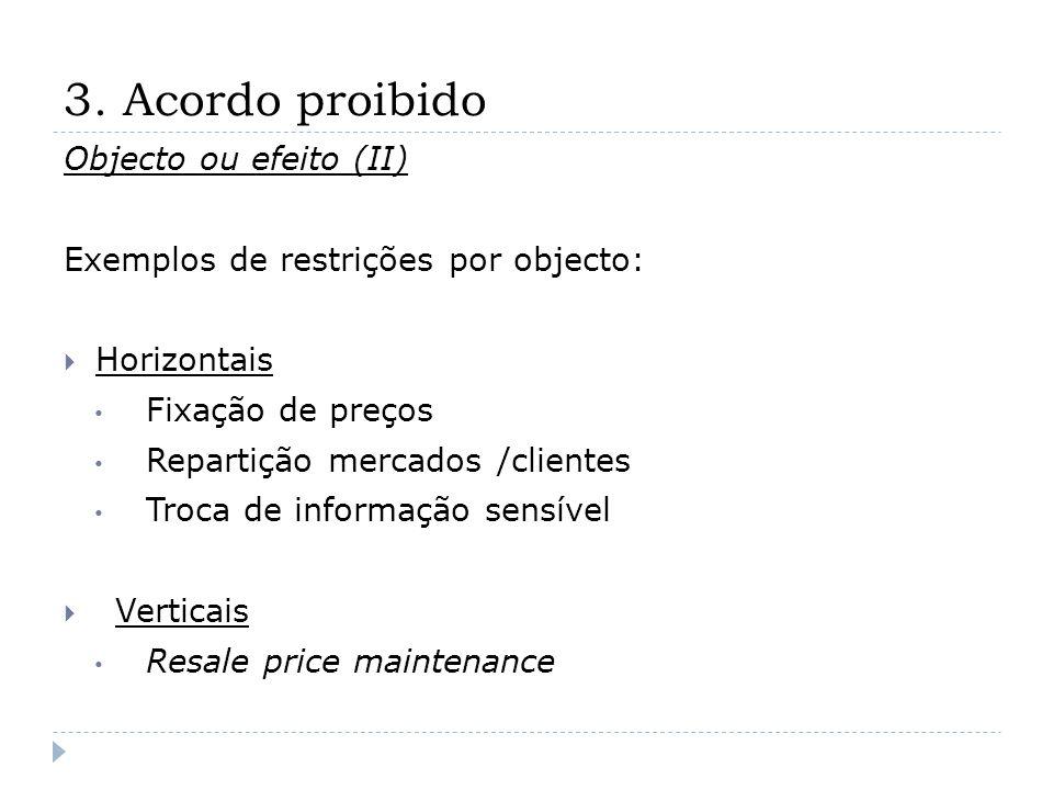 3. Acordo proibido Objecto ou efeito (II) Exemplos de restrições por objecto: Horizontais Fixação de preços Repartição mercados /clientes Troca de inf