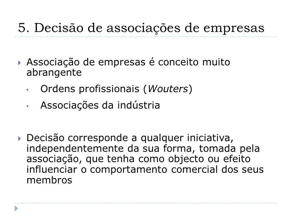 5. Decisão de associações de empresas Associação de empresas é conceito muito abrangente Ordens profissionais (Wouters) Associações da indústria Decis