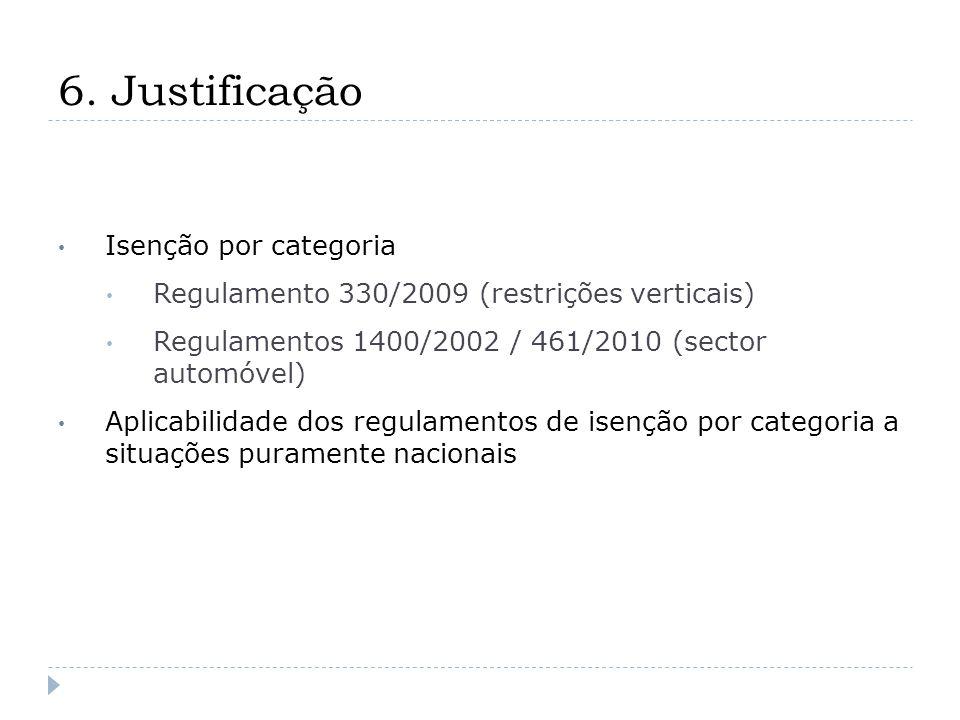 6. Justificação Isenção por categoria Regulamento 330/2009 (restrições verticais) Regulamentos 1400/2002 / 461/2010 (sector automóvel) Aplicabilidade