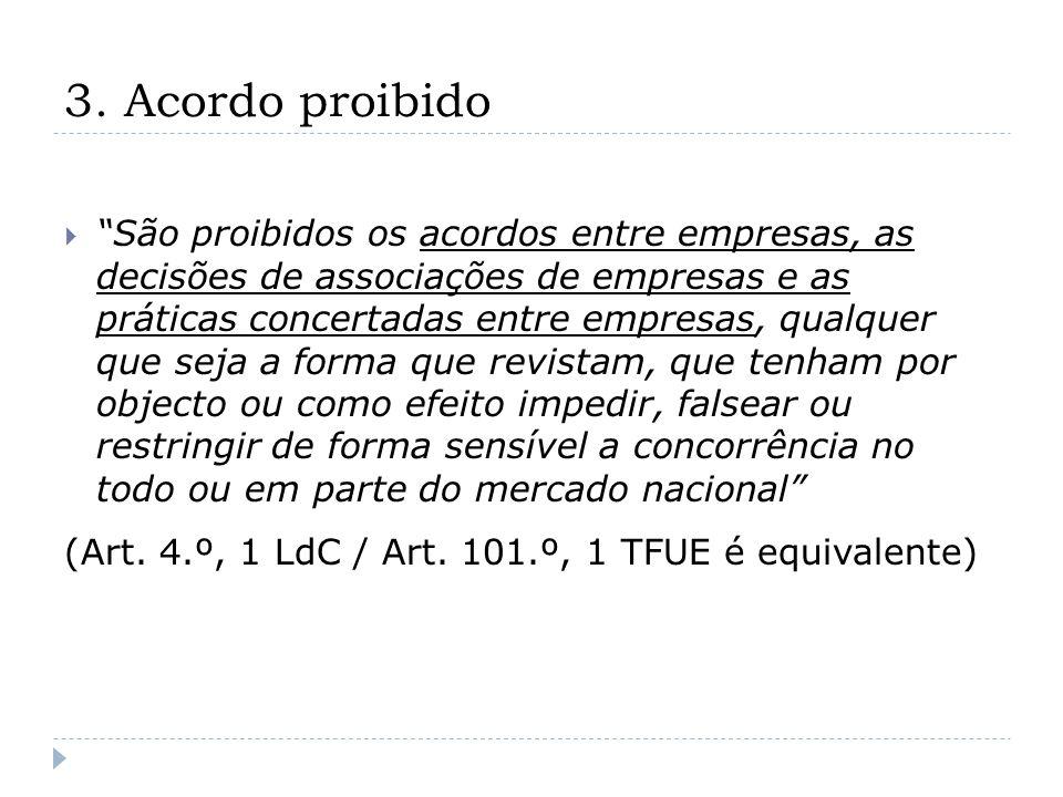 3. Acordo proibido São proibidos os acordos entre empresas, as decisões de associações de empresas e as práticas concertadas entre empresas, qualquer