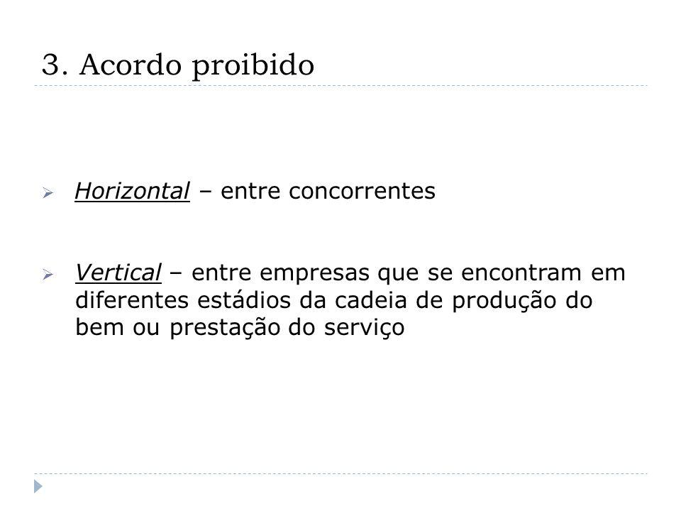 3. Acordo proibido Horizontal – entre concorrentes Vertical – entre empresas que se encontram em diferentes estádios da cadeia de produção do bem ou p