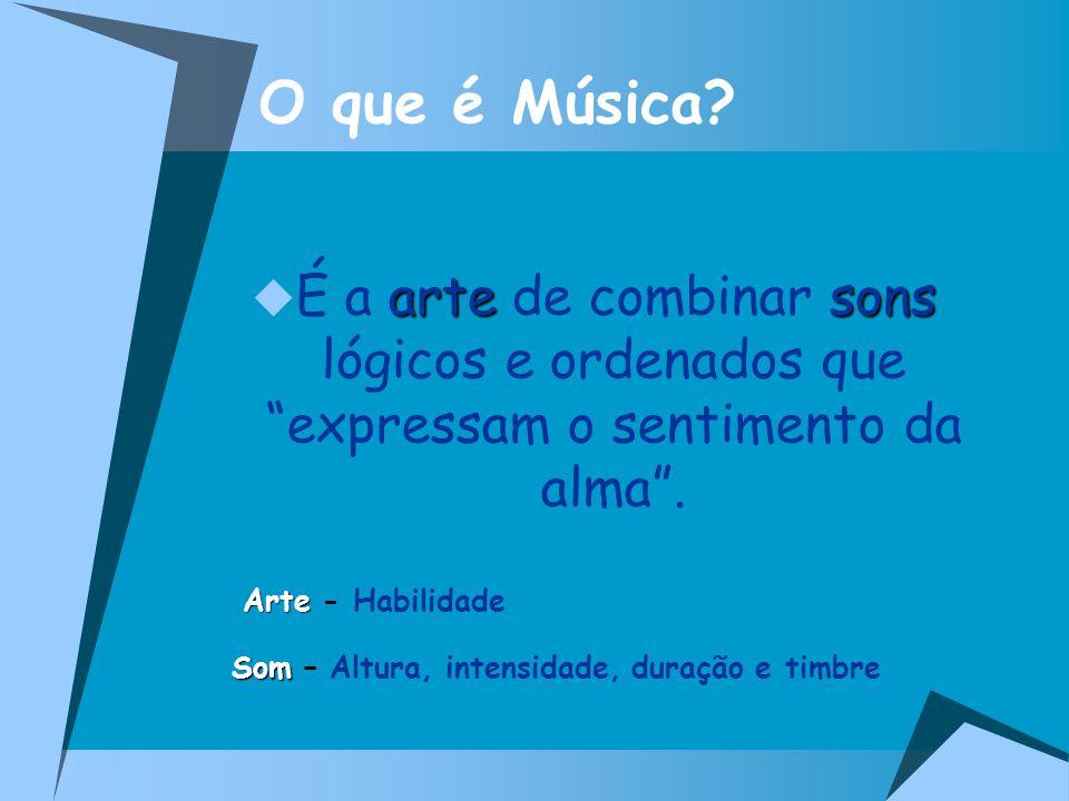 O que é Música? artesons É a arte de combinar sons lógicos e ordenados que expressam o sentimento da alma. Arte Arte - Habilidade Som Som – Altura, in