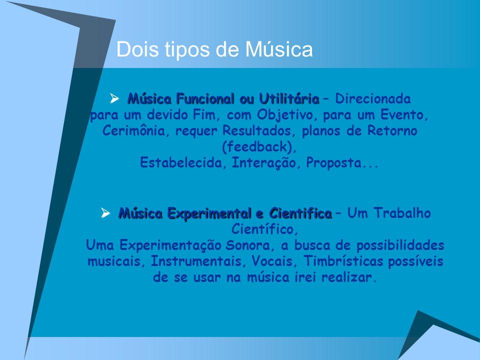 Dois tipos de Música Música Funcional ou Utilitária Música Funcional ou Utilitária – Direcionada para um devido Fim, com Objetivo, para um Evento, Cer