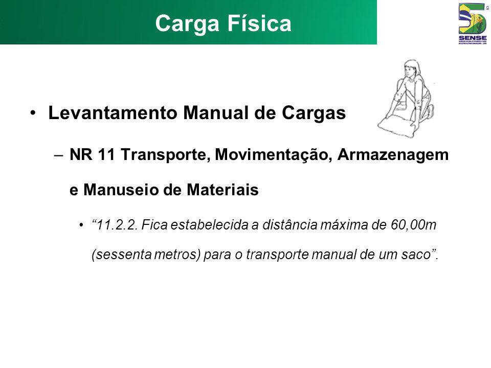 Carga Física Levantamento Manual de Cargas –CLT Art. 198 - É de 60 (sessenta) quilogramas o peso máximo que um empregado pode remover individualmente,
